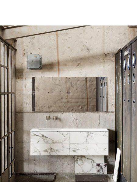 Mueble de baño Vica 150 cm porcelánico Calacatta mat con 4 cajones, lavabo de Solid surface seno izquierda con 0 orificio(s) para el grifo.