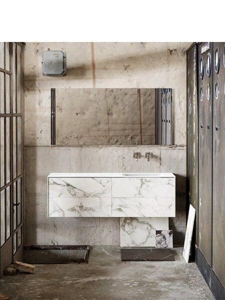 Mueble de baño Vica 150 cm porcelánico Calacatta mat con 4 cajones, lavabo de Solid surface seno derecha con 0 orificio(s) para el grifo.