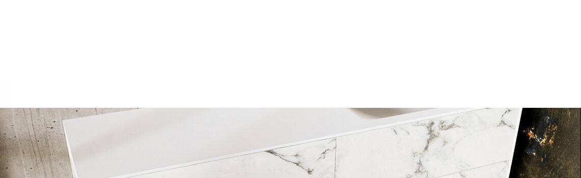 Mueble de baño Vica 150 cm porcelánico Calacatta mat