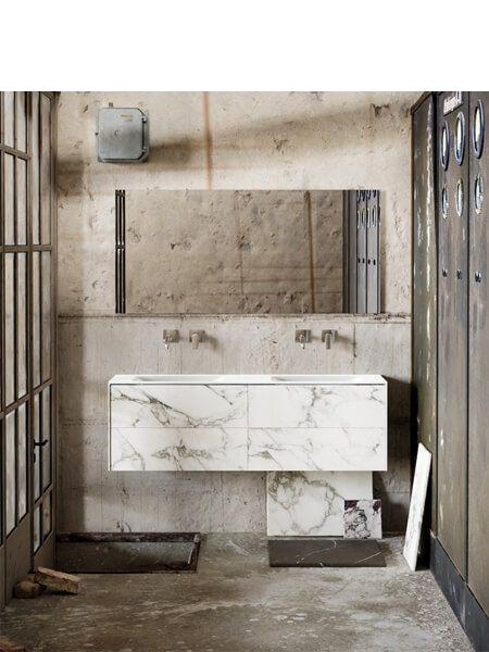Mueble de baño Vica 150 cm porcelánico Calacatta mat con 4 cajones, lavabo de Solid surface seno doble con 0 orificio(s) para el grifo.