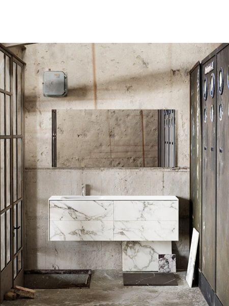 Mueble de baño Vica 150 cm porcelánico Calacatta mat con 4 cajones, lavabo de Solid surface seno izquierda con 1 orificio(s) para el grifo.