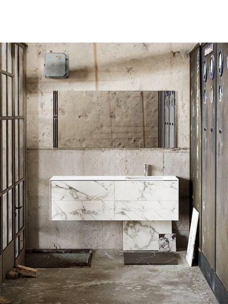 Mueble de baño Vica 150 cm porcelánico Calacatta mat con 4 cajones, lavabo de Solid surface seno derecha con 1 orificio(s) para el grifo.
