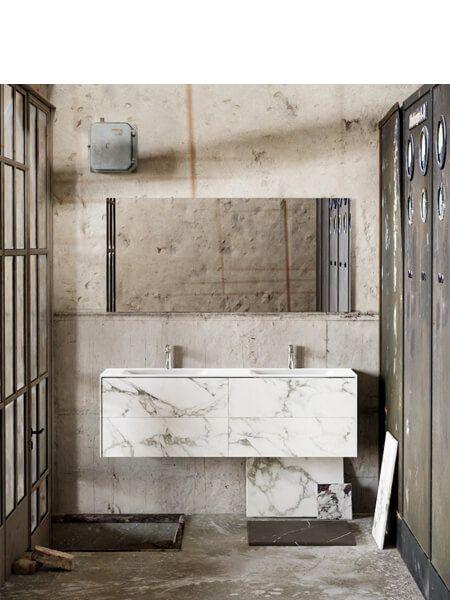 Mueble de baño Vica 150 cm porcelánico Calacatta mat con 4 cajones, lavabo de Solid surface seno doble con 2 orificio(s) para el grifo.
