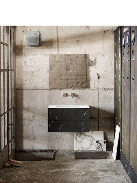 Mueble de baño Vica 80 cm porcelánico Elegant Black con 2 cajones, lavabo de Solid surface seno centrado con 0 orificio(s) para el grifo.