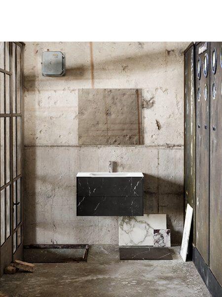 Mueble de baño Vica 80 cm porcelánico Elegant Black con 2 cajones, lavabo de Solid surface seno centrado con 1 orificio(s) para el grifo.