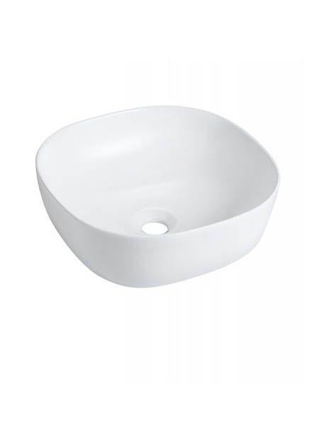 Lavabo cerámico cuadrado Olea blanco 410 x 410 x 145 mm