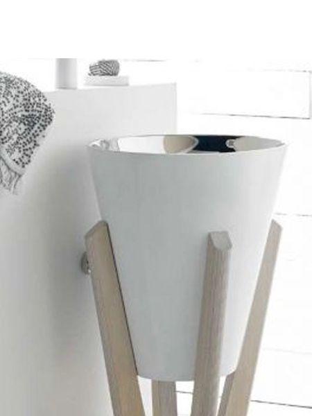 Lavabo metálico acero brillo blanco Pedraza con pedestal de madera