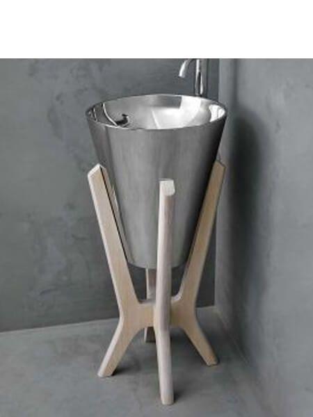 Lavabo metálico acero brillo Pedraza con pedestal de madera