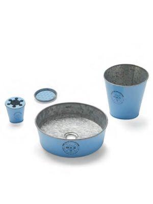 Lavabo metálico zinc azul Kyoto (Papelera, vaso, jabonera y válvula).