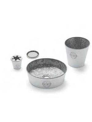 Lavabo metálico zinc blanco Kyoto (Papelera, vaso, jabonera y válvula).