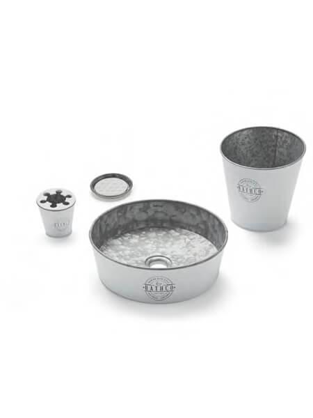 Lavabo metálico zinc blanco Kyoto (Papelera, vaso, jabonera y válvula)