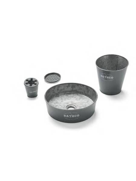 Lavabo metálico zinc negro Kyoto (Papelera, vaso, jabonera y válvula).