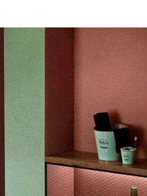 Lavabo metálico zinc verde Kyoto (Papelera, vaso, jabonera y válvula).