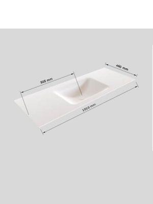 Mueble de baño Vica 100 cm porcelánico 2 cajones, lavabo de Solid surface seno centrado