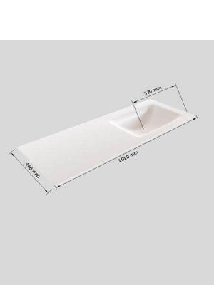 Mueble de baño Vica 100 cm porcelánico 2 cajones, lavabo de Solid surface seno derecha