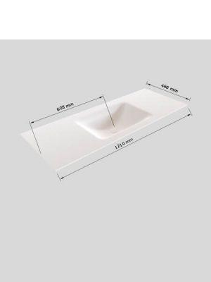 Mueble de baño Vica 120 cm porcelánico 2 cajones, lavabo de Solid surface seno centrado