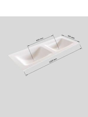 Mueble de baño Vica 120 cm porcelánico 2 cajones, lavabo de Solid surface seno doble