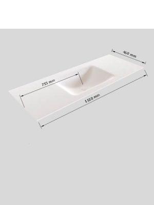 Mueble de baño Vica 150 cm porcelánico 2 cajones, lavabo de Solid surface seno centrado