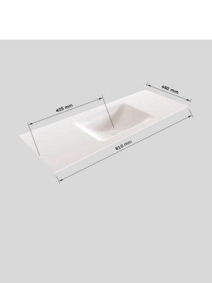 Mueble de baño Vica 80 cm porcelánico 2 cajones, lavabo de Solid surface seno centrado