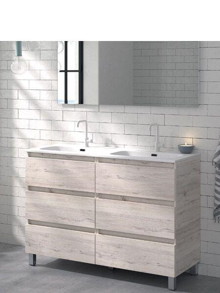Mueble de baño a suelo 120 cm 6 cajones Orosi (mueble + lavabo + espejo)