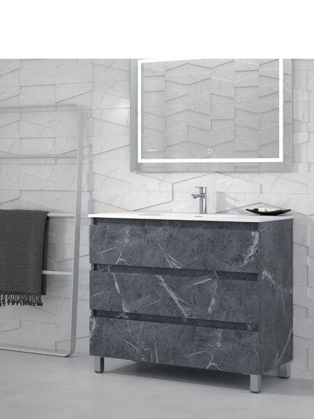 Mueble de baño a suelo 60 cm 3 cajones Orosi (mueble + lavabo + espejo)