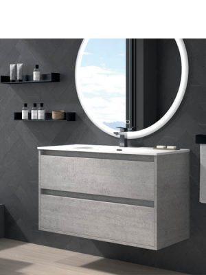 Mueble de baño suspendido 2 cajones Etna Cemento