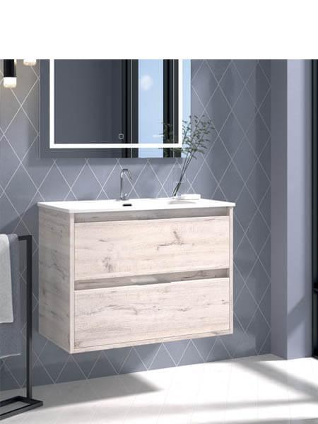 Mueble de baño suspendido 60 cm 2 cajones Etna (mueble + lavabo + espejo)