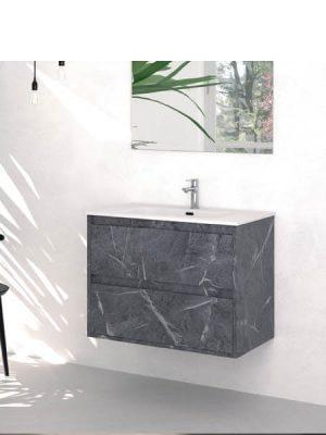 Mueble de baño suspendido 2 cajones Etna Marquina