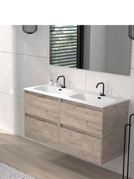 Mueble de baño suspendido 120 cm 4 cajones Etna (mueble + lavabo + espejo)