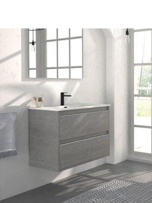 Mueble de baño suspendido 2 cajones Nasu cemento