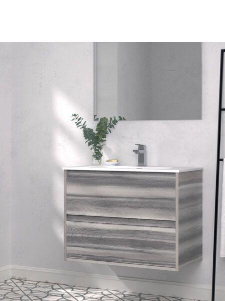 Mueble de baño suspendido 60 cm 2 cajones Nasu (mueble + lavabo + espejo)