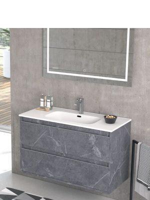Mueble de baño suspendido 2 cajones Nasu marquina