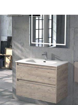 Mueble de baño suspendido 2 cajones Nasu Nature