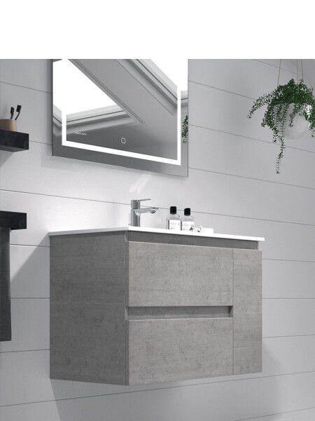 Mueble de baño suspendido 80 cm 2 cajones + puerta Kula (mueble + lavabo + espejo)