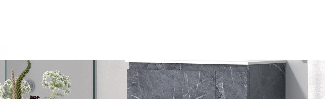 Mueble de baño suspendido 80 cm 2 cajones + puerta Kula marquina