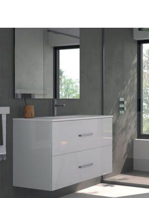 Mueble de baño suspendido 2 cajones Teide blanco