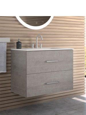 Mueble de baño suspendido 2 cajones Teide cemento