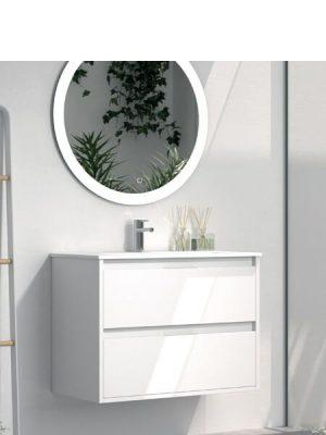 Mueble de baño suspendido 2 cajones Zao blanco