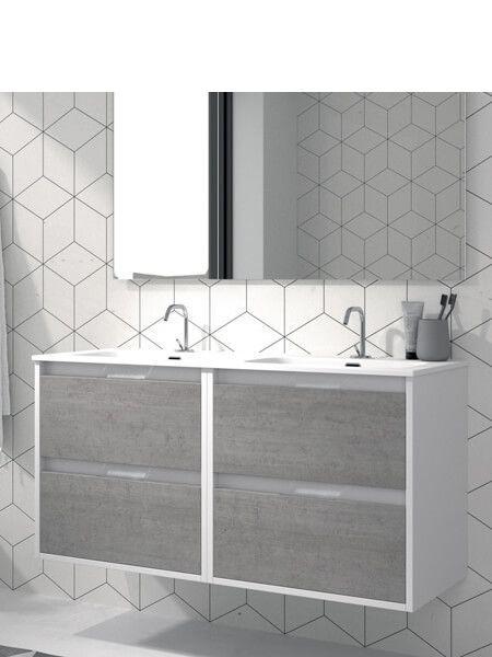 Mueble de baño suspendido 120 cm 4 cajones Zao (mueble + lavabo + espejo)