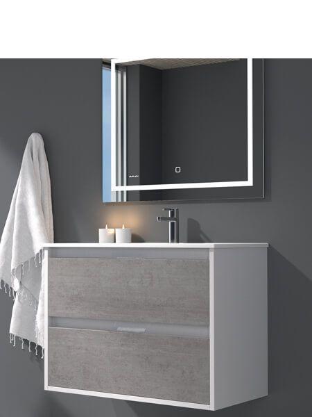 Mueble de baño suspendido 60 cm 2 cajones Zao (mueble + lavabo + espejo)