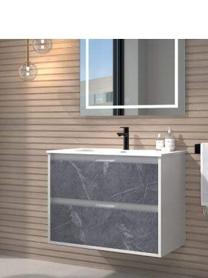 Mueble de baño suspendido 2 cajones Zao marquina