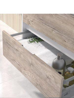 Mueble de baño suspendido 2 cajones Zao nature