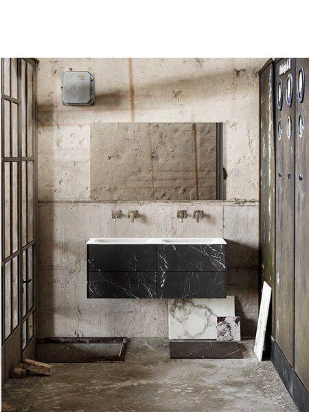 Mueble de baño Vica 120 cm porcelánico Elegant Black con 4 cajones, lavabo de Solid surface seno doble con 0 orificio(s) para el grifo.