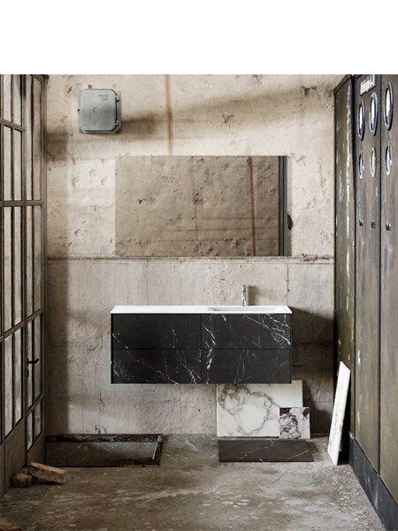Mueble de baño Vica 120 cm porcelánico Elegant Black con 4 cajones, lavabo de Solid surface seno derecha con 1 orificio(s) para el grifo.