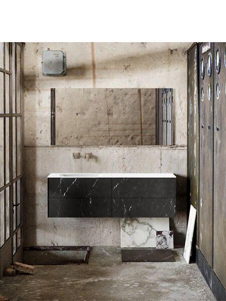 Mueble de baño Vica 150 cm porcelánico Elegant Black con 4 cajones, lavabo de Solid surface seno izquierda con 0 orificio(s) para el grifo.