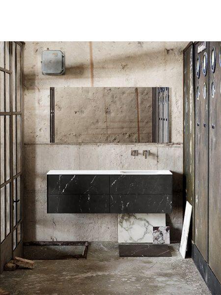 Mueble de baño Vica 150 cm porcelánico Elegant Black con 4 cajones, lavabo de Solid surface seno derecha con 0 orificio(s) para el grifo.