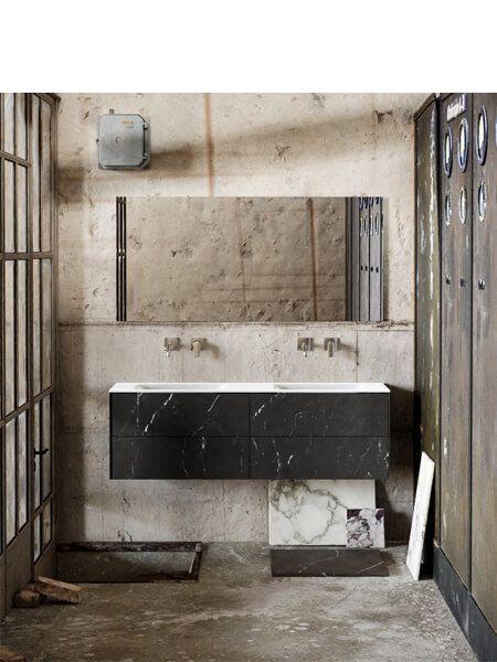 Mueble de baño Vica 150 cm porcelánico Elegant Black con 4 cajones, lavabo de Solid surface seno doble con 0 orificio(s) para el grifo.