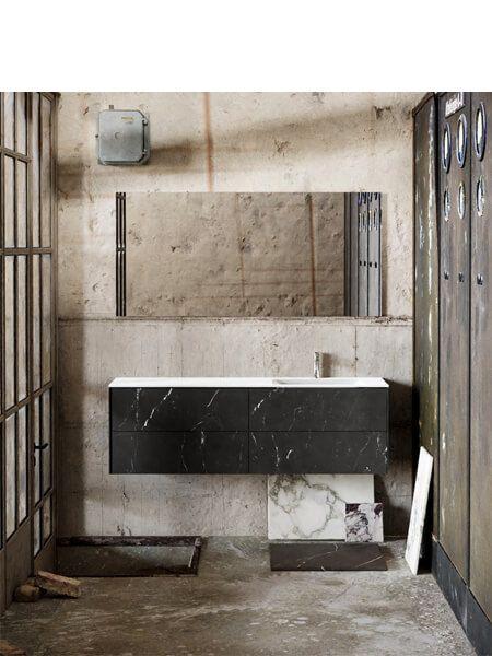 Mueble de baño Vica 150 cm porcelánico Elegant Black con 4 cajones, lavabo de Solid surface seno derecha con 1 orificio(s) para el grifo.