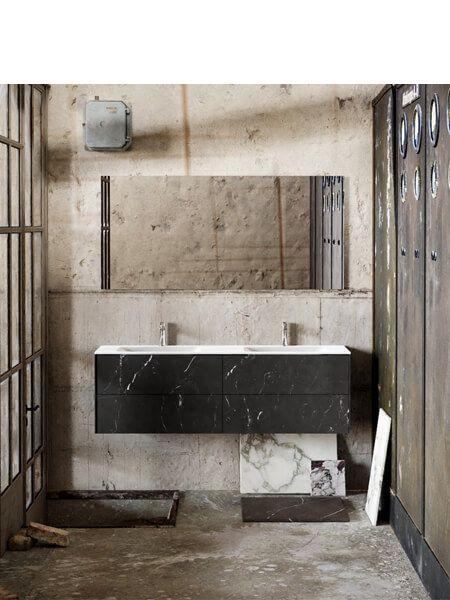 Mueble de baño Vica 150 cm porcelánico Elegant Black con 4 cajones, lavabo de Solid surface seno doble con 2 orificio(s) para el grifo.