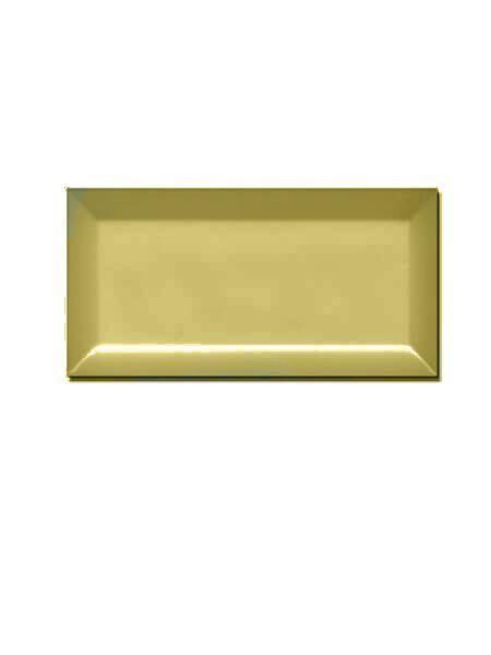 Azulejo tipo metro biselado Amarillo brillo 10X20 cm.